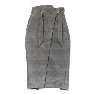 H&M Gray Plaid Tulip Pencil Skirt w/ Tie Size 4